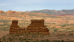 Rock formations at sunset at Arches National Park Moab Utah. Royalty Free Stock Images
