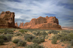 Rock formations at sunset at Arches National Park Moab Utah. Royalty Free Stock Photos