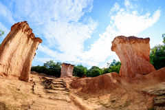Rock formations in Thailand. The rock formations in Phae Mueng Phi National park, Phrase Province, Thailand, shot by fisheye lens Royalty Free Stock Photos
