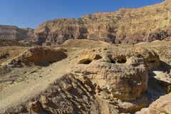 Rock formations in Timna valley, Israel. The Arches are natural arches formed by erosion,  and can be seen along the western cliff of the valley in Timna Royalty Free Stock Photo