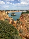 Rock formations. 25 to 35 millions years old. Praia day Rocha, Algarve Portugal Stock Images