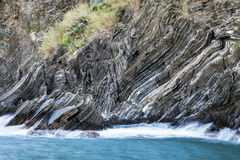 Rock formations in Vernazza area Stock Photos