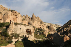 Rock Formations in Zelve Valley, Cappadocia Royalty Free Stock Image