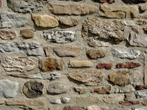 Rock foundation wall. Stone foundation or wall on older building Stock Photos
