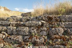 Rock. Fragment of the ancient wall of the fortress. Royalty Free Stock Photos