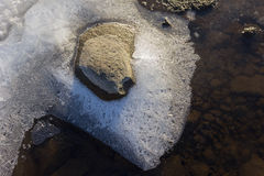 Rock, frozen water and ice crystals viewed from above Royalty Free Stock Photography