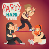 Rock Funs Party Hard Alternative Music Geek. Hipster Happy Smiling Character Stylish Background Retro Cartoon Design Vector Illustration Royalty Free Stock Images