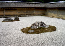 Rock garden. A zen rock garden in Ryoanji temple Kyoto,Japan Royalty Free Stock Image