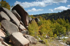 Rock Garden. Large rock boulders in forest area colorado, usa stock photography
