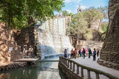 Rock Garden, Chandigarh. CHANDIGARH, INDIA - NOVEMBER 04, 2015: Waterfall in the Rock Garden of Chandigarh. It is a sculpture garden in Chandigarh, India, also Royalty Free Stock Photos