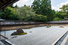 Rock garden at Ryoanji Temple in Kyoto, Japan Royalty Free Stock Images
