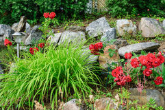 Rock garden with solar lamp royalty free stock photos