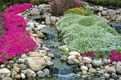 Rock garden with waterfalls Stock Photography