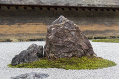 Rock garden, Zen garden. Zen garden is a miniature stylised landscape through carefully composed arrangements of rocks, water features, moss, pruned trees and Royalty Free Stock Image