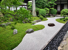 Rock garden of Zen temple, Kyoto Japan. A rock garden of Buddhism temple in Kyoto Japan, the traditional art of composition and abstract truth of Zen Buddhism Stock Photography