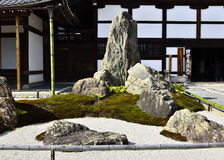 Rock garden of Zen temple, Kyoto Japan. Rock garden of Tenryuji temple in Kyoto Japan, the traditional art of composition and abstract truth of Zen Buddhism Stock Photo