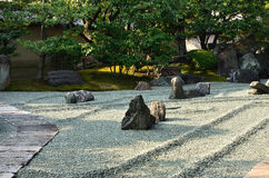 Rock garden of Zen temple, Kyoto Japan. Royalty Free Stock Image