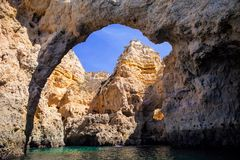 Rock gate, on the sea, province the Algarve, Portugal Royalty Free Stock Photography