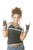 Rock gesture. Punk style girl with cigarette showing rock gesture stock photos