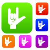 Rock gesture set color collection. Rock gesture set icon color in flat style isolated on white. Collection sings vector illustration Royalty Free Stock Image