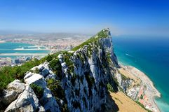 Rock of Gibraltar. Aerial view of Rock of Gibraltar with city and coastline in background, Iberian Peninsula Stock Images