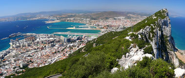 Rock of Gibraltar. Panoramic sight of the crag of Gibraltar Stock Image