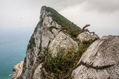 Rock of Gibraltar. View of the Rock of Gibraltar and ocean Royalty Free Stock Images