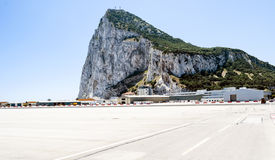 Rock of Gibraltar from the airport Royalty Free Stock Photo