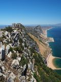View from the top of the Rock of Gibraltar. Artillery battery on the Rock of Gibraltar Stock Images