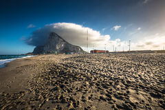 The Rock of Gibraltar from the beach of La Linea, Spain Stock Photography