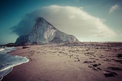 The Rock of Gibraltar from the beach of La Linea, Spain Royalty Free Stock Photos