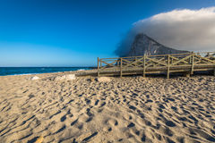 The Rock of Gibraltar from the beach of La Linea, Spain Royalty Free Stock Image