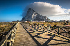 The Rock of Gibraltar from the beach of La Linea, Spain Royalty Free Stock Images