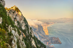 Rock of Gibraltar in fog. A British Overseas Territory Stock Photo