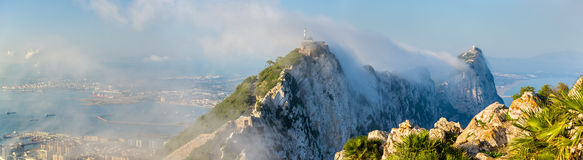 Rock of Gibraltar in fog. A British Overseas Territory Royalty Free Stock Photos