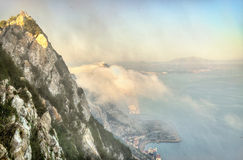 Rock of Gibraltar in fog. A British Overseas Territory Stock Photography