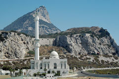 Rock of Gibraltar & Ibrahim-al-Ibrahim Mosque Royalty Free Stock Images