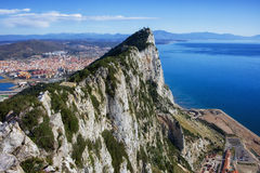Rock of Gibraltar at Mediterranean Sea Stock Images