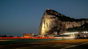 Rock of Gibraltar at night. Gibraltar`s airport royalty free stock images