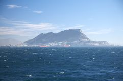 The rock of gibraltar from ocean. Bay of algeciras and gibraltar in andalusia spain Stock Images