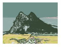 Rock of Gibraltar. Illustration of the . Vectorised digitally handdrawn illustration Royalty Free Stock Photography