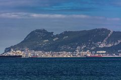 The rock of Gibraltar and some ships stock photo