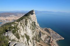 Rock of Gibraltar. View from the top of the Rock of Gibraltar Stock Photo