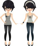 Rock Girl. Cute dolls wearing jeans and skull top Stock Image