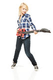 Rock girl with blow-up plastic guitar Stock Image