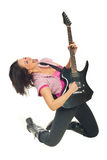 Rock girl with electronic guitar Stock Image