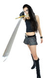 Rock girl with fantasy sword royalty free stock photo