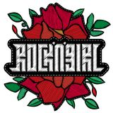 Rock and Girl - fashion badge or patch. Embroidery Rose with Lea. Ves for rock girl gang. Vector design element, sticker, pin or patches in vintage punk style. T Royalty Free Stock Photos