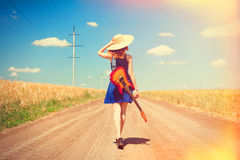 Rock girl with guitar Stock Photography
