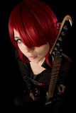 Rock girl with guitar, high angle view Royalty Free Stock Photography